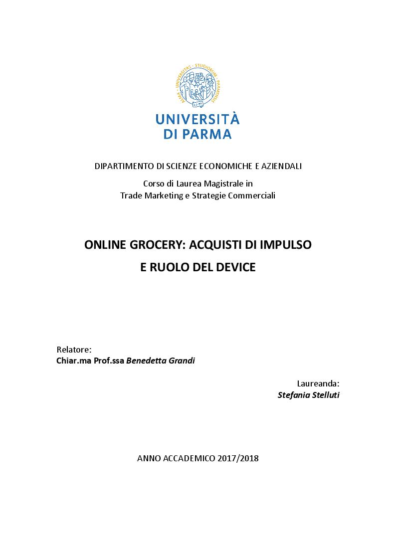 Anteprima della tesi: Online Grocery: acquisti di impulso e ruolo del device, Pagina 1