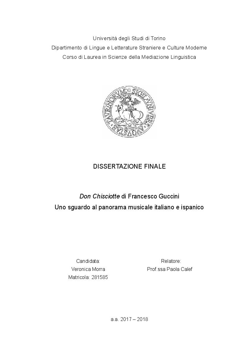 Anteprima della tesi: Don Chisciotte di Francesco Guccini - Uno sguardo al panorama musicale italiano e ispanico, Pagina 1