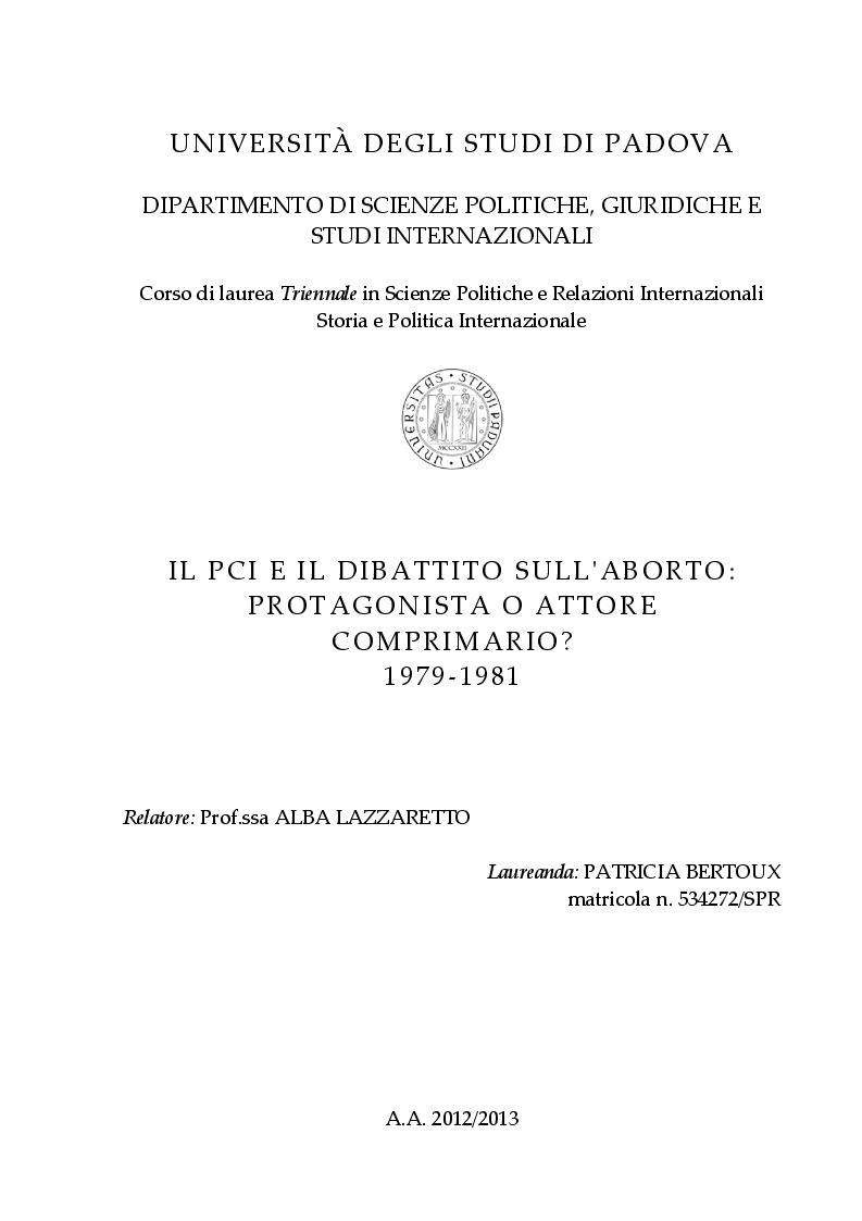 Anteprima della tesi: Il PCI e il dibattito sull'aborto: protagonista o attore comprimario? 1979-1981, Pagina 1