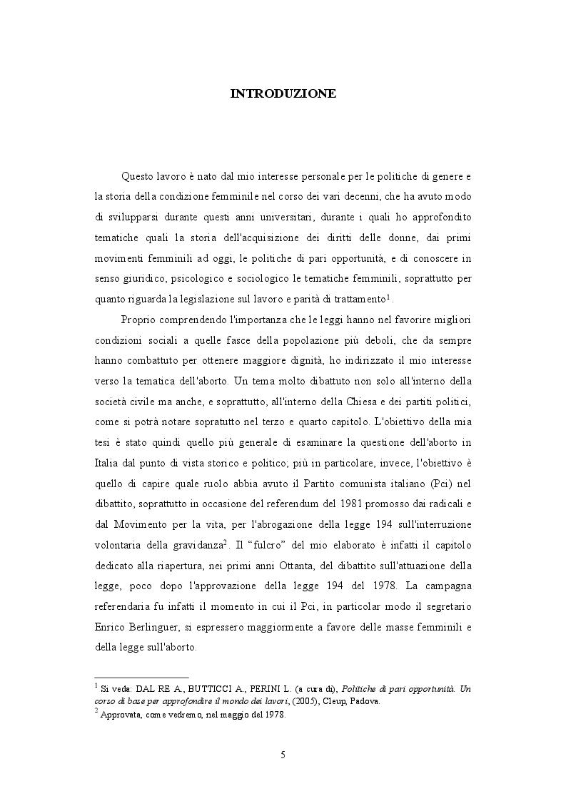 Anteprima della tesi: Il PCI e il dibattito sull'aborto: protagonista o attore comprimario? 1979-1981, Pagina 2