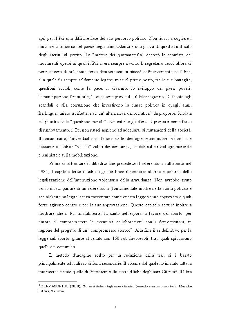 Anteprima della tesi: Il PCI e il dibattito sull'aborto: protagonista o attore comprimario? 1979-1981, Pagina 4