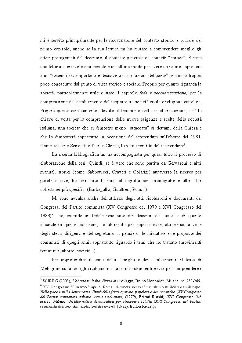 Anteprima della tesi: Il PCI e il dibattito sull'aborto: protagonista o attore comprimario? 1979-1981, Pagina 5