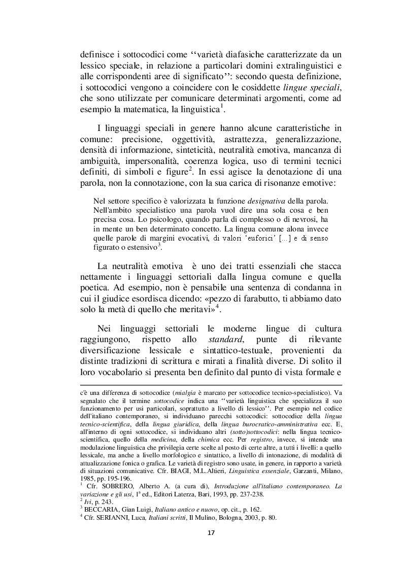 Estratto dalla tesi: Il linguaggio giuridico: analisi linguistica e difficoltà traduttive. Studio applicato alle sentenze della Corte dei Conti (2009 - 2013)