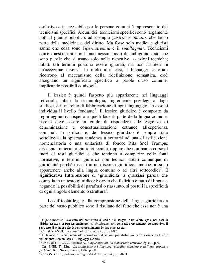Anteprima della tesi: Il linguaggio giuridico: analisi linguistica e difficoltà traduttive. Studio applicato alle sentenze della Corte dei Conti (2009 - 2013), Pagina 3