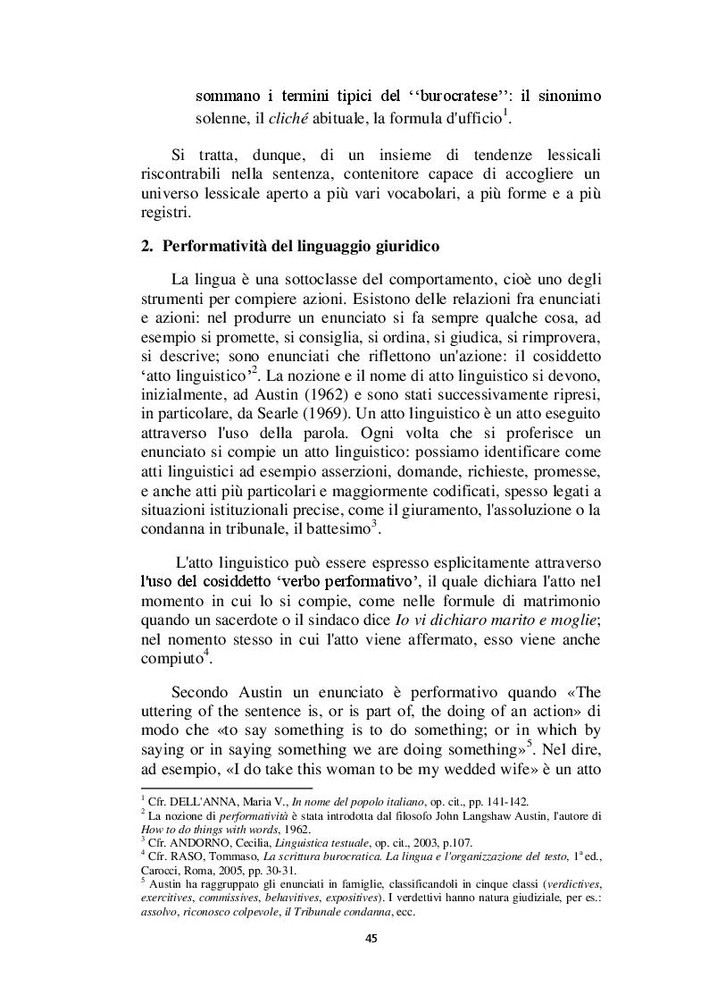 Anteprima della tesi: Il linguaggio giuridico: analisi linguistica e difficoltà traduttive. Studio applicato alle sentenze della Corte dei Conti (2009 - 2013), Pagina 6