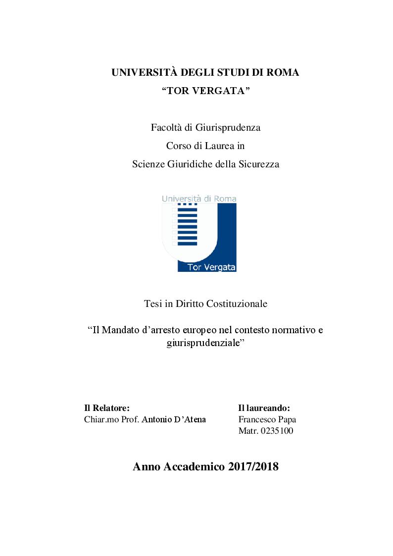 Anteprima della tesi: Il Mandato d'arresto europeo nel contesto normativo e giurisprudenziale, Pagina 1