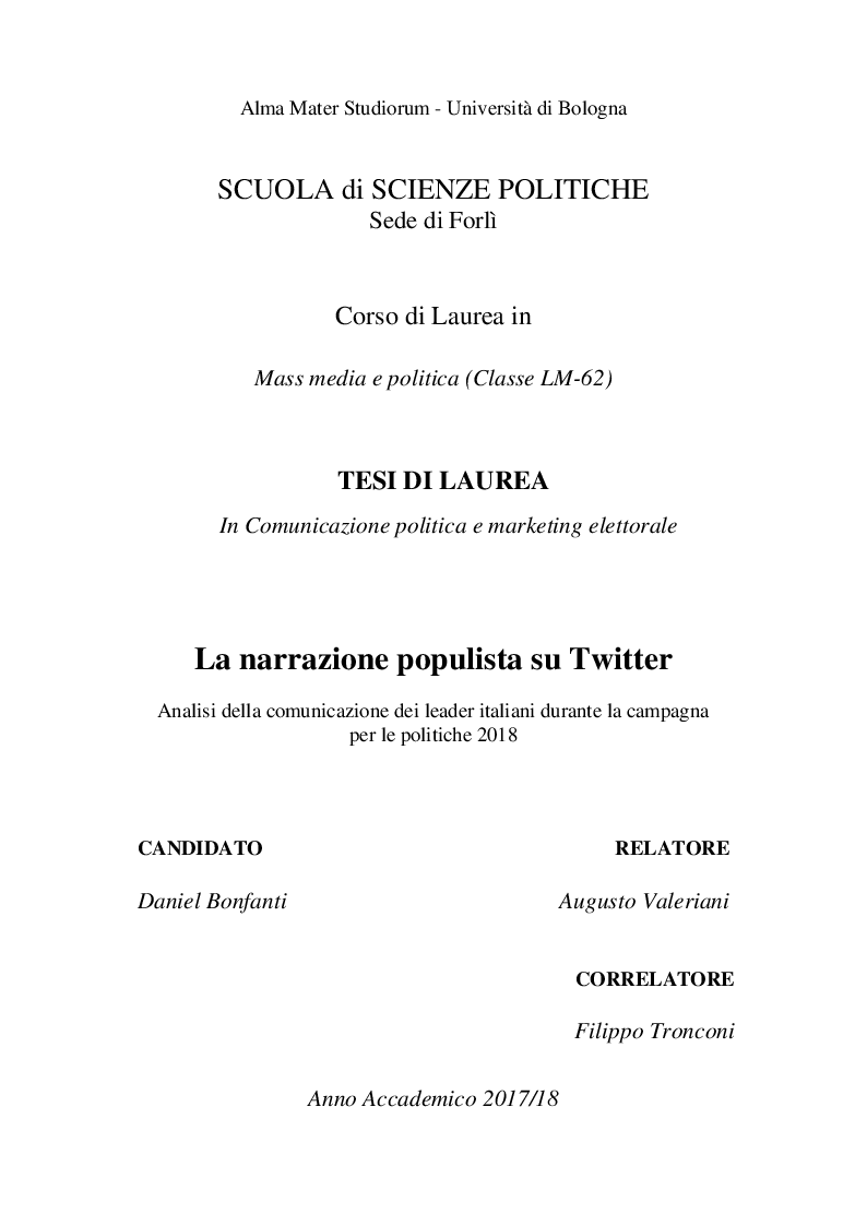 Anteprima della tesi: La narrazione populista su Twitter. Analisi della comunicazione dei leader italiani durante la campagna per le politiche 2018, Pagina 1
