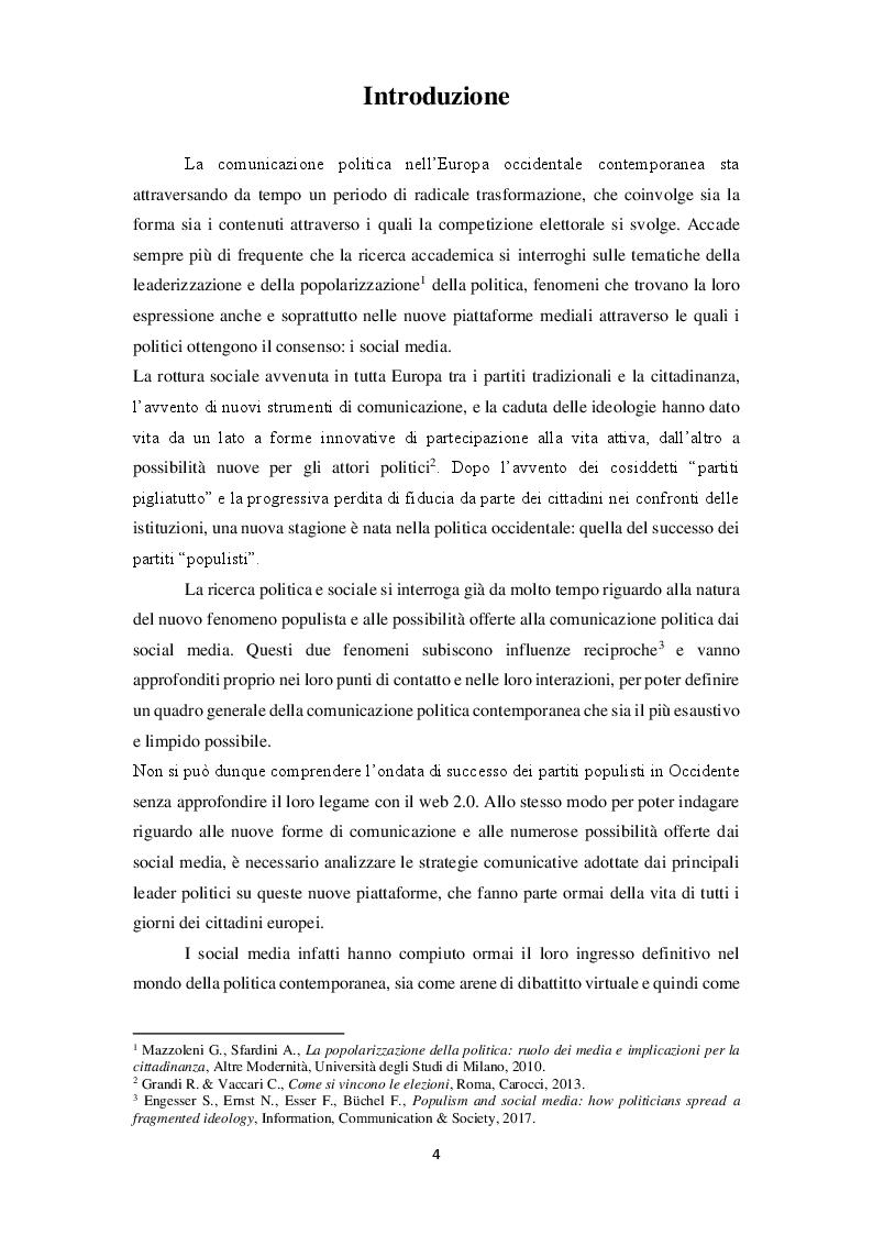 Anteprima della tesi: La narrazione populista su Twitter. Analisi della comunicazione dei leader italiani durante la campagna per le politiche 2018, Pagina 2