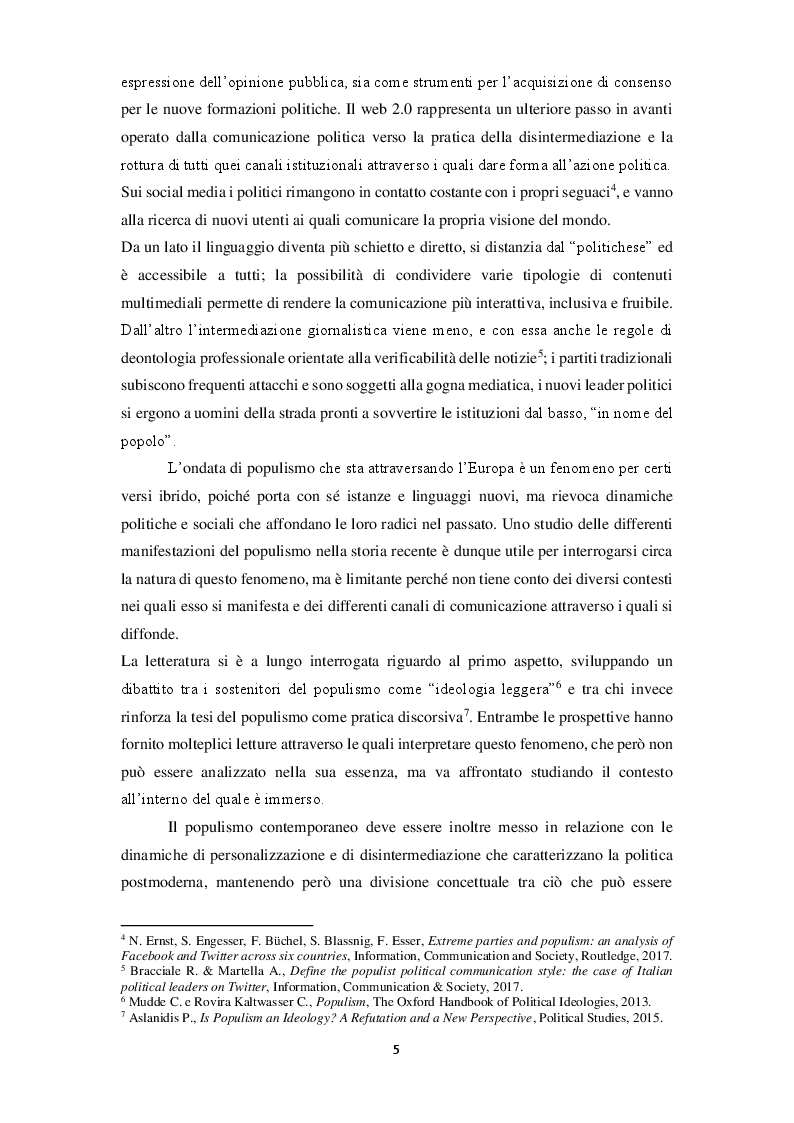 Anteprima della tesi: La narrazione populista su Twitter. Analisi della comunicazione dei leader italiani durante la campagna per le politiche 2018, Pagina 3