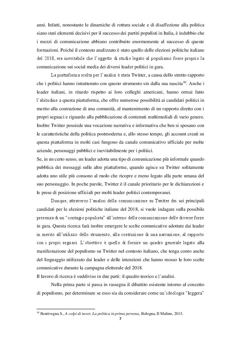 Anteprima della tesi: La narrazione populista su Twitter. Analisi della comunicazione dei leader italiani durante la campagna per le politiche 2018, Pagina 5