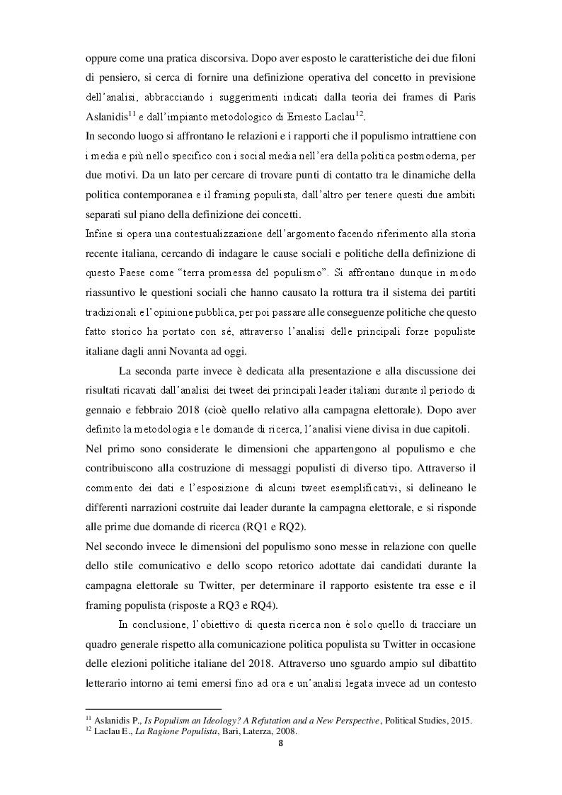 Anteprima della tesi: La narrazione populista su Twitter. Analisi della comunicazione dei leader italiani durante la campagna per le politiche 2018, Pagina 6