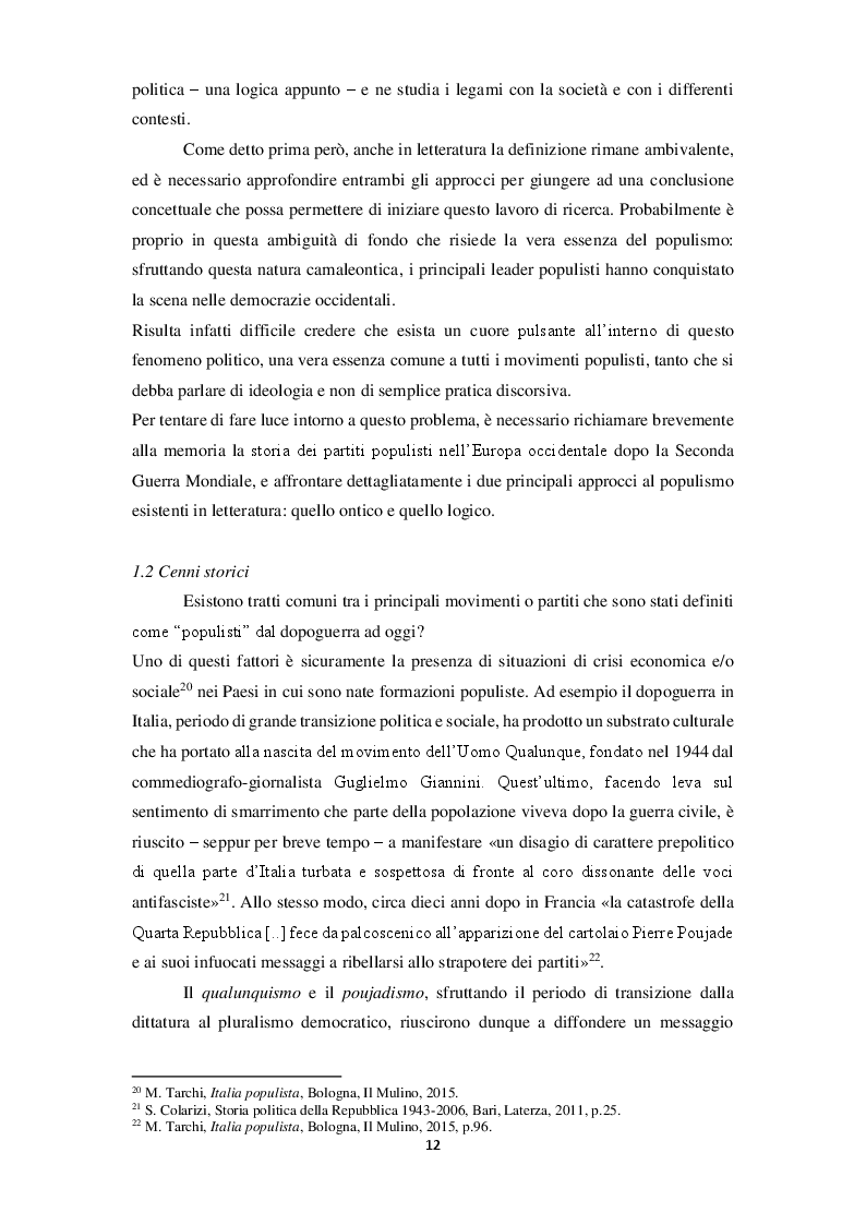 Anteprima della tesi: La narrazione populista su Twitter. Analisi della comunicazione dei leader italiani durante la campagna per le politiche 2018, Pagina 9