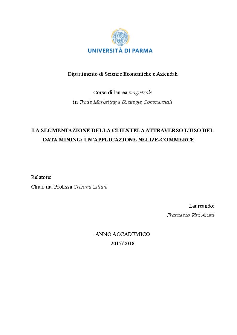 Anteprima della tesi: La segmentazione della clientela attraverso l'uso del data mining: un'applicazione nell'e-commerce, Pagina 1