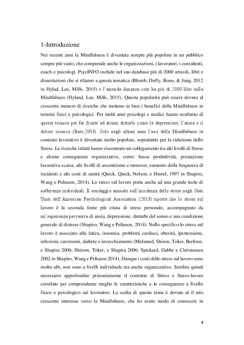 Anteprima della tesi: Mindfulness: protocolli per la riduzione dello Stress sul lavoro, Pagina 2