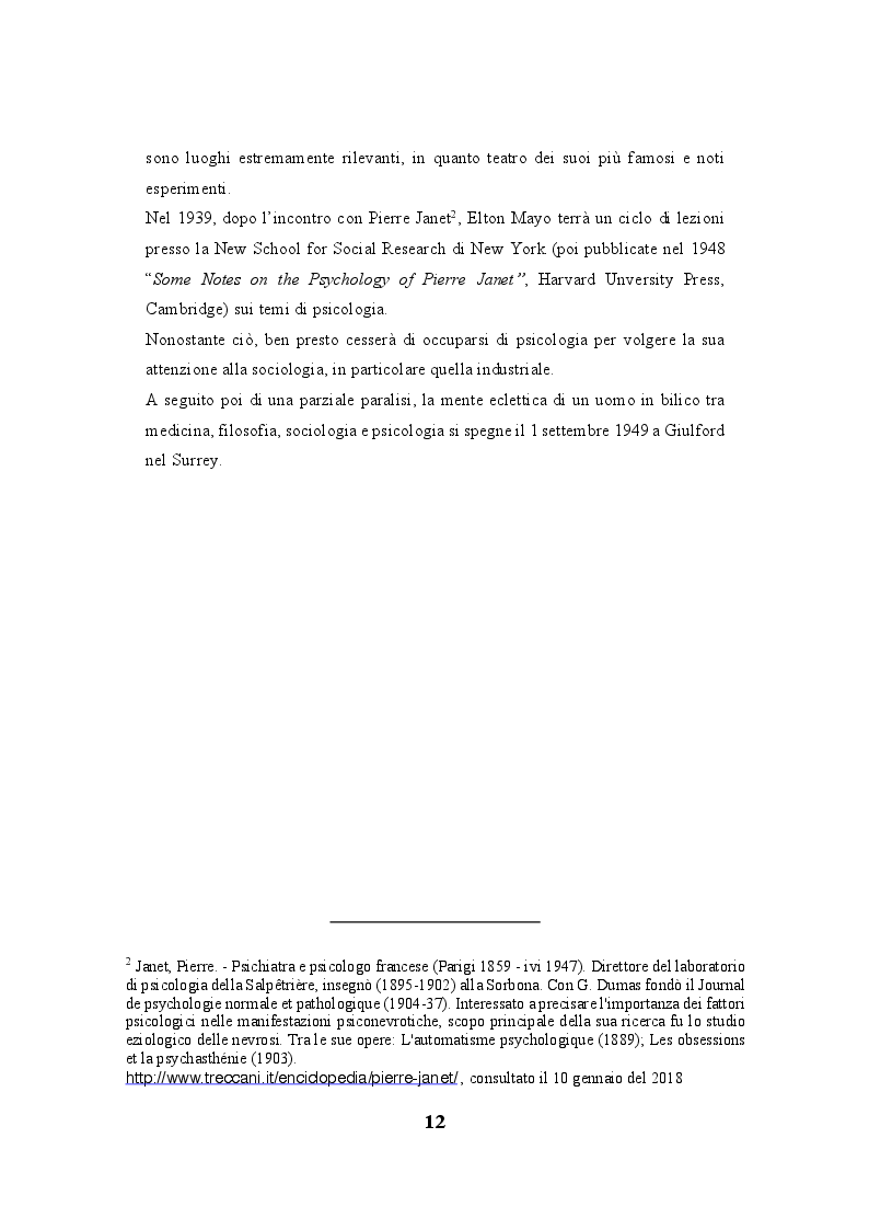 """Anteprima della tesi: Lo human relations approach come struttura portante della """"fabbrica a misura d'uomo"""": esiste una correlazione tra la Teoria delle relazioni umane di Elton Mayo e il welfare aziendale?, Pagina 3"""