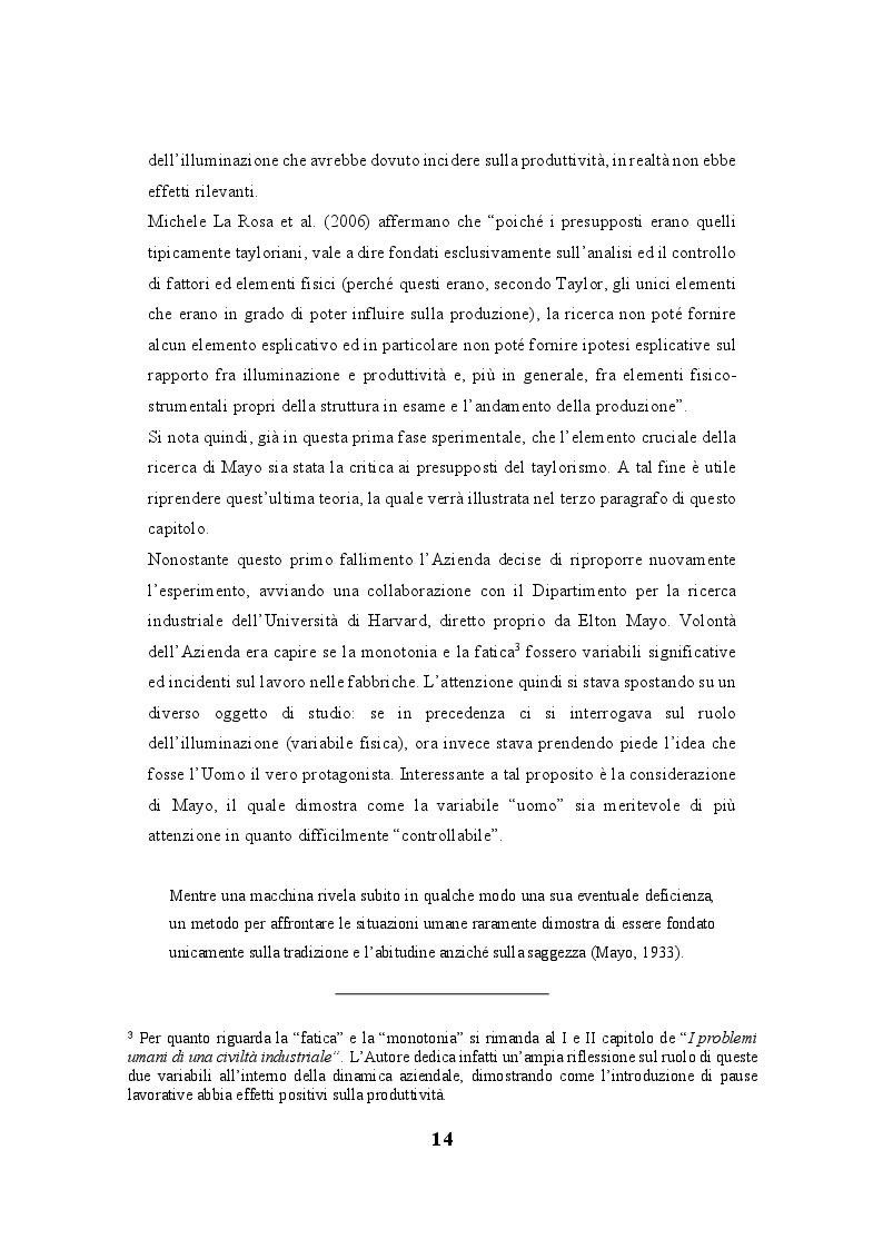 """Anteprima della tesi: Lo human relations approach come struttura portante della """"fabbrica a misura d'uomo"""": esiste una correlazione tra la Teoria delle relazioni umane di Elton Mayo e il welfare aziendale?, Pagina 5"""