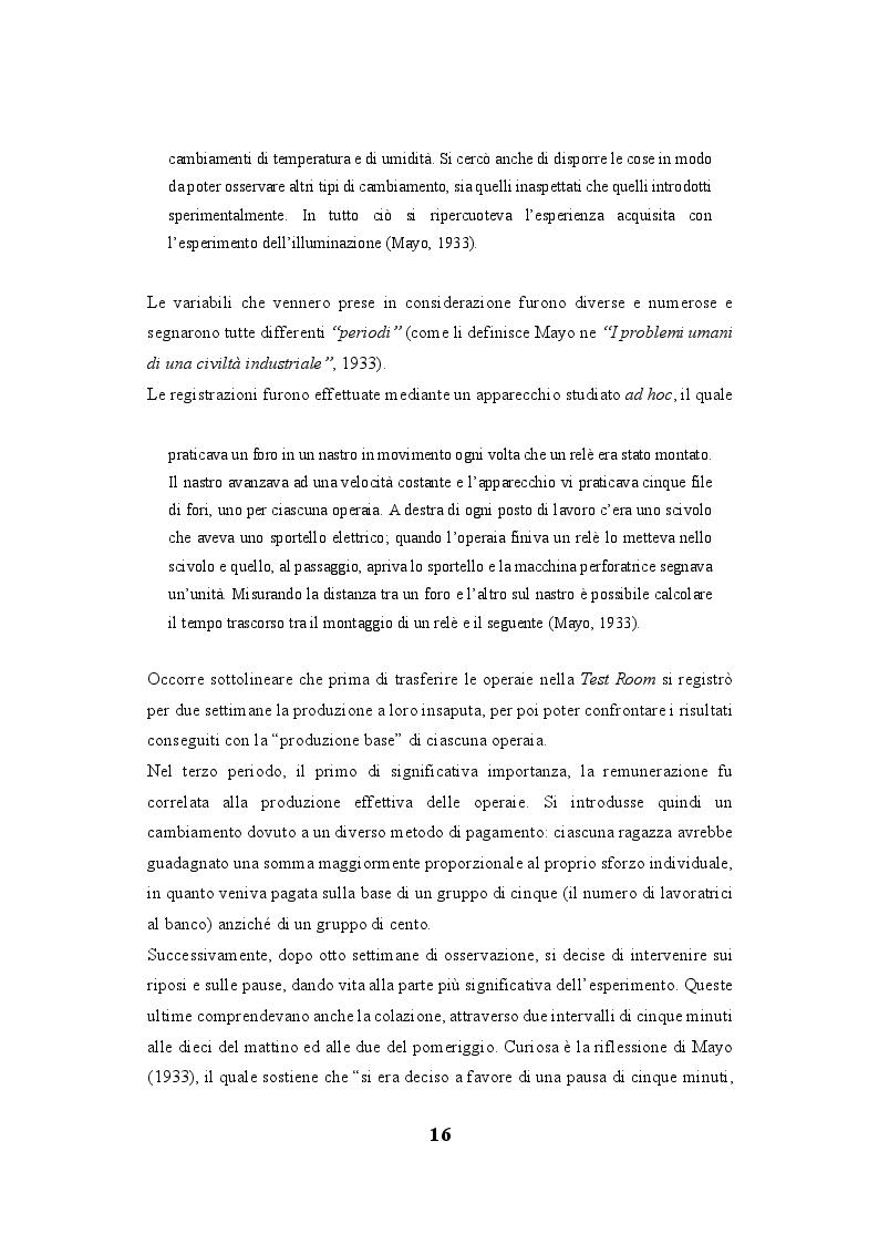 """Anteprima della tesi: Lo human relations approach come struttura portante della """"fabbrica a misura d'uomo"""": esiste una correlazione tra la Teoria delle relazioni umane di Elton Mayo e il welfare aziendale?, Pagina 7"""