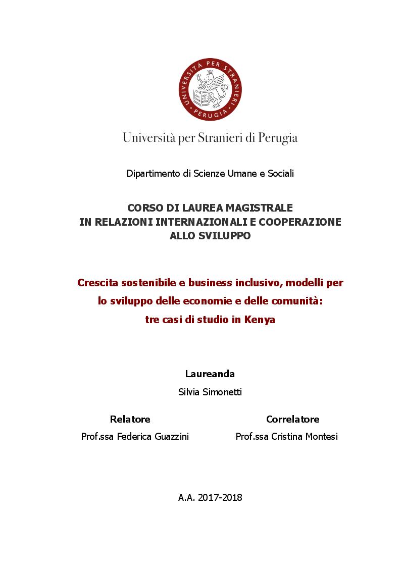 Anteprima della tesi: Crescita sostenibile e business inclusivo, modelli per lo sviluppo delle economie e delle comunità: tre casi di studio in Kenya, Pagina 1