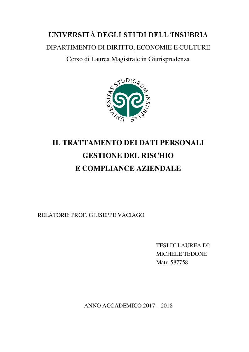 Anteprima della tesi: Il trattamento dei dati personali. Gestione del rischio e compliance aziendale., Pagina 1