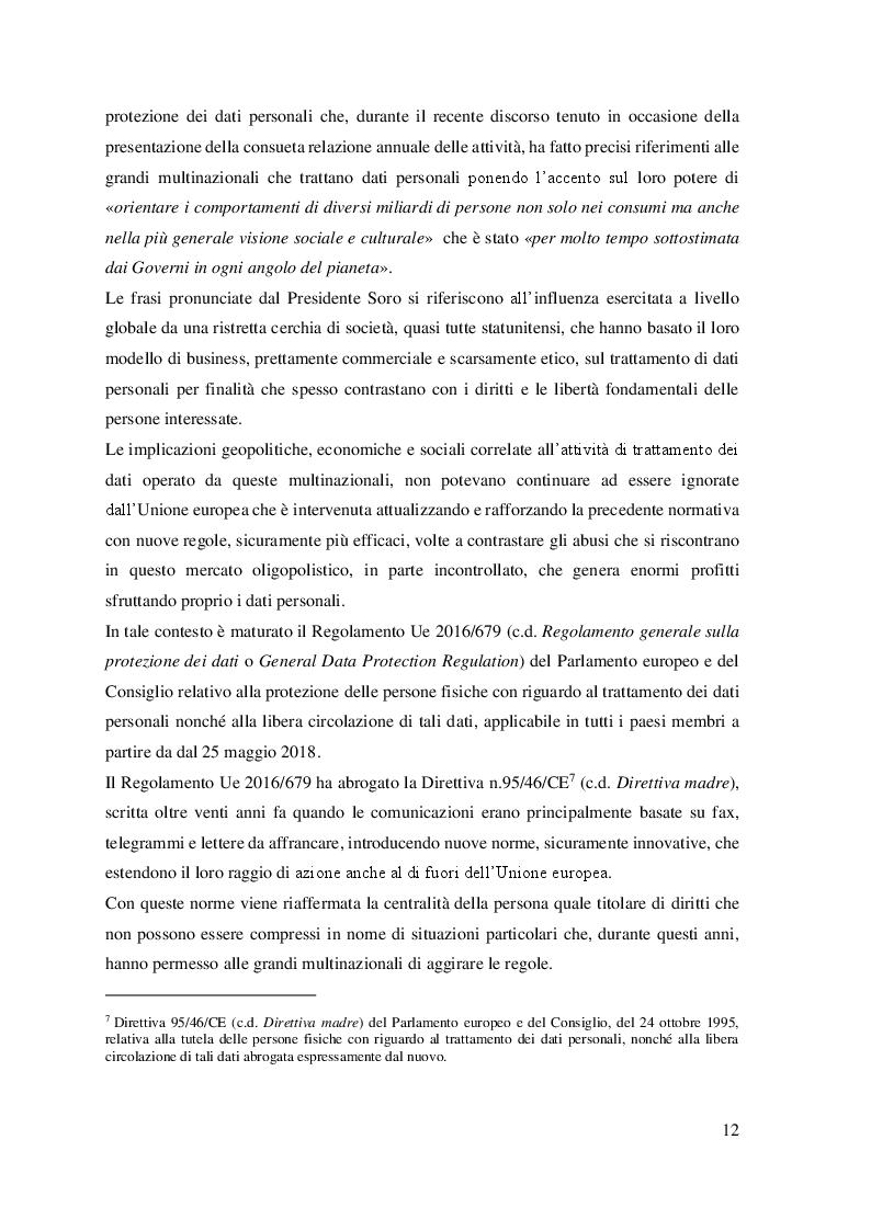Anteprima della tesi: Il trattamento dei dati personali. Gestione del rischio e compliance aziendale., Pagina 4