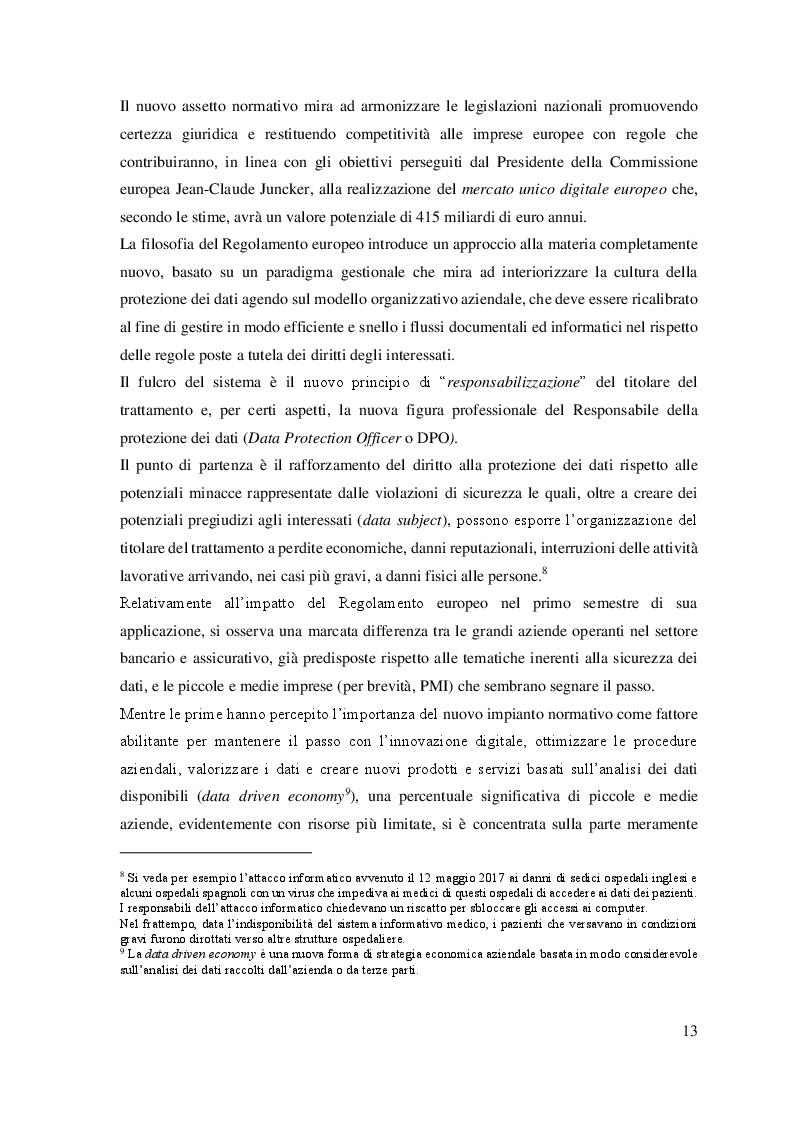 Anteprima della tesi: Il trattamento dei dati personali. Gestione del rischio e compliance aziendale., Pagina 5