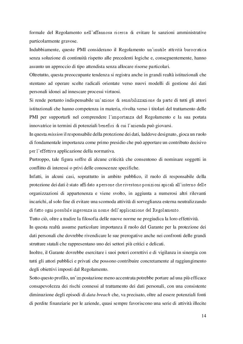 Anteprima della tesi: Il trattamento dei dati personali. Gestione del rischio e compliance aziendale., Pagina 6