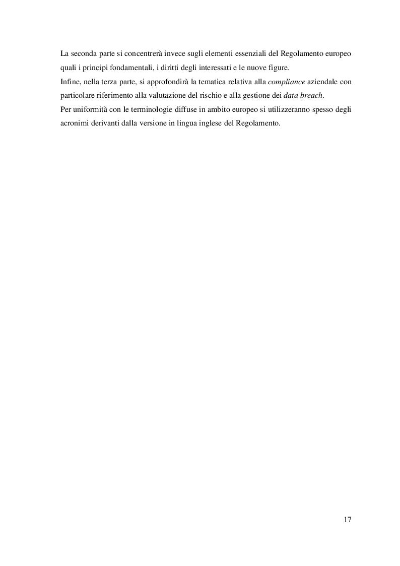 Anteprima della tesi: Il trattamento dei dati personali. Gestione del rischio e compliance aziendale., Pagina 9