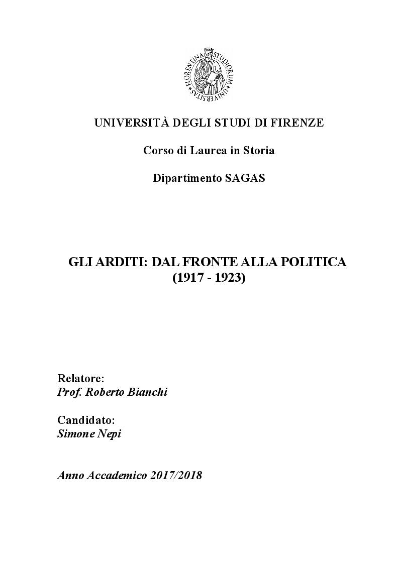 Anteprima della tesi: Gli arditi: dal fronte alla politica (1917-1923), Pagina 1