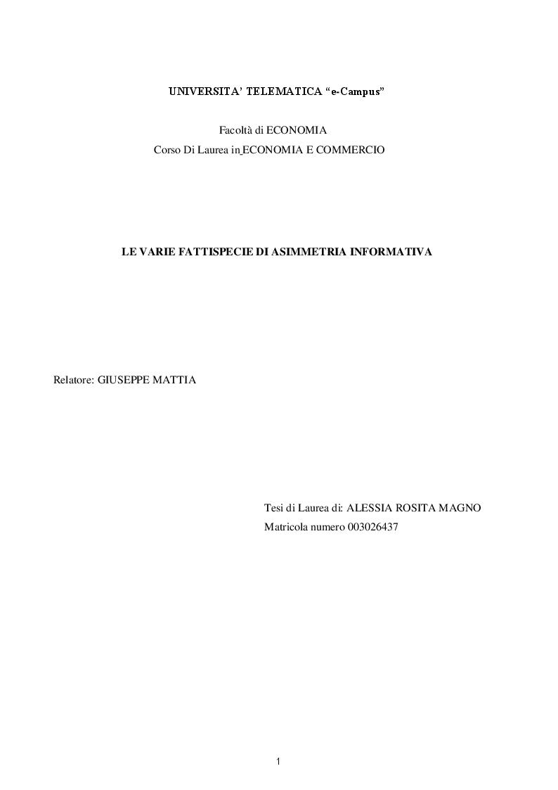 Anteprima della tesi: Le varie fattispecie di asimmetria informativa, Pagina 1