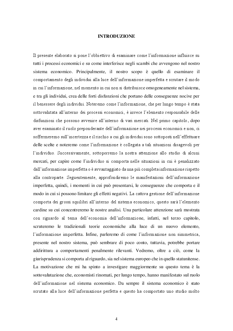 Anteprima della tesi: Le varie fattispecie di asimmetria informativa, Pagina 2