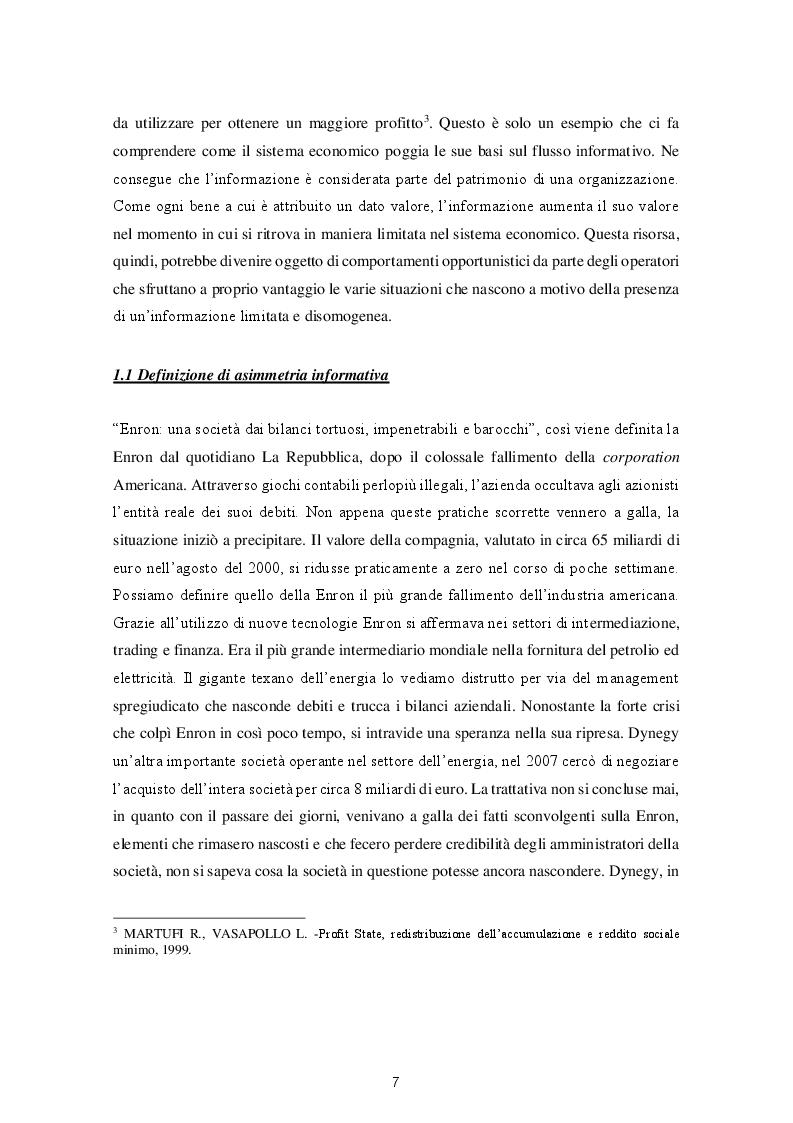 Anteprima della tesi: Le varie fattispecie di asimmetria informativa, Pagina 5