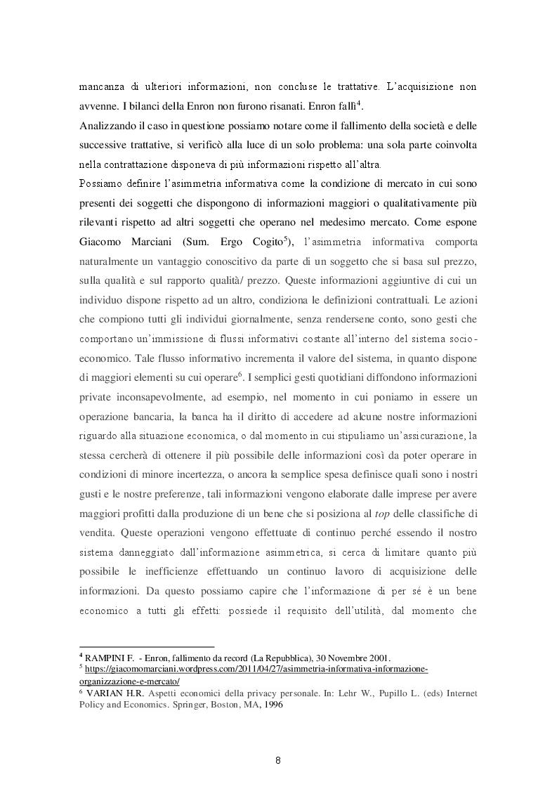 Anteprima della tesi: Le varie fattispecie di asimmetria informativa, Pagina 6