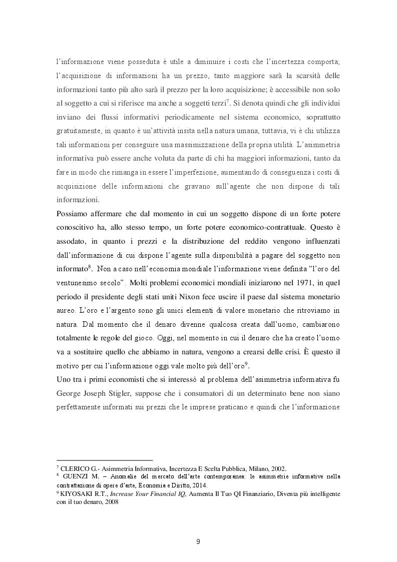 Anteprima della tesi: Le varie fattispecie di asimmetria informativa, Pagina 7