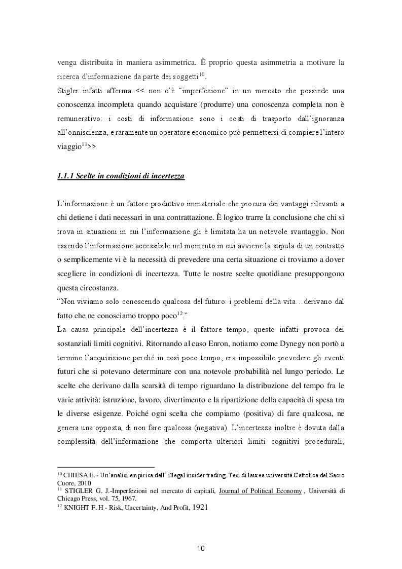 Anteprima della tesi: Le varie fattispecie di asimmetria informativa, Pagina 8