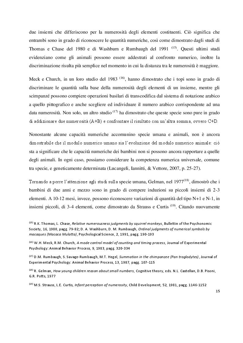 Estratto dalla tesi: I prerequisiti dell'apprendimento matematico: screening e potenziamento in età prescolare