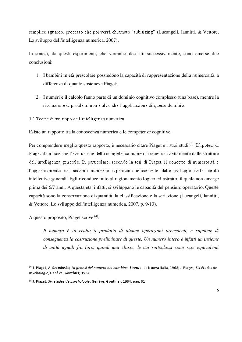 Anteprima della tesi: I prerequisiti dell'apprendimento matematico: screening e potenziamento in età prescolare, Pagina 3