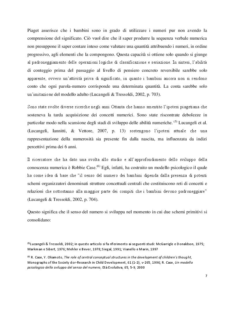 Anteprima della tesi: I prerequisiti dell'apprendimento matematico: screening e potenziamento in età prescolare, Pagina 5