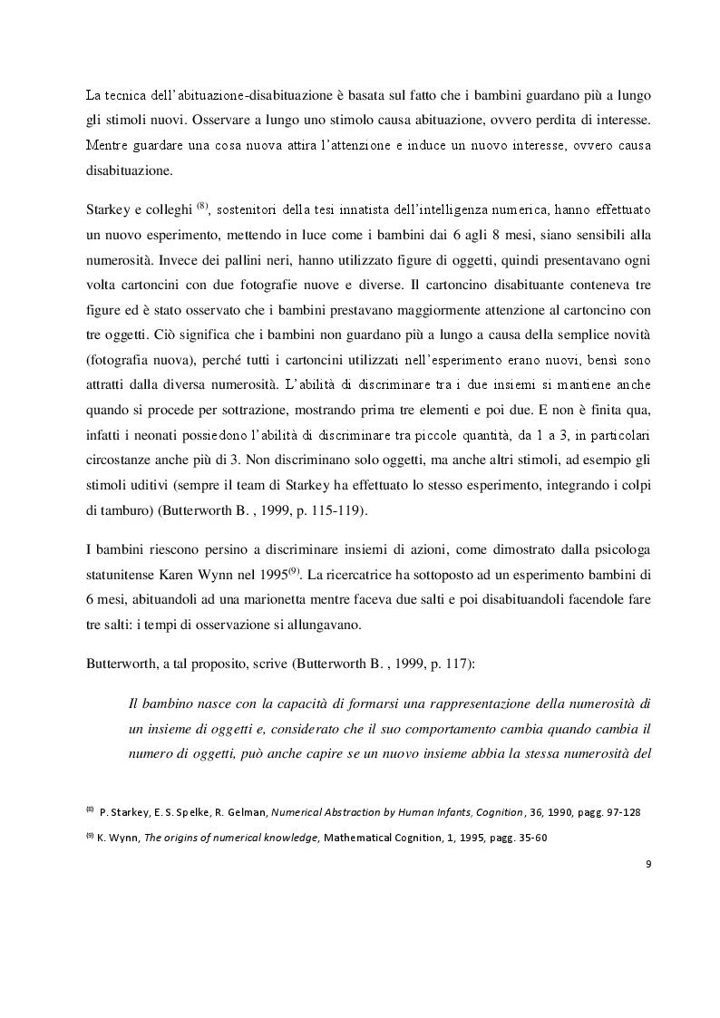Anteprima della tesi: I prerequisiti dell'apprendimento matematico: screening e potenziamento in età prescolare, Pagina 7