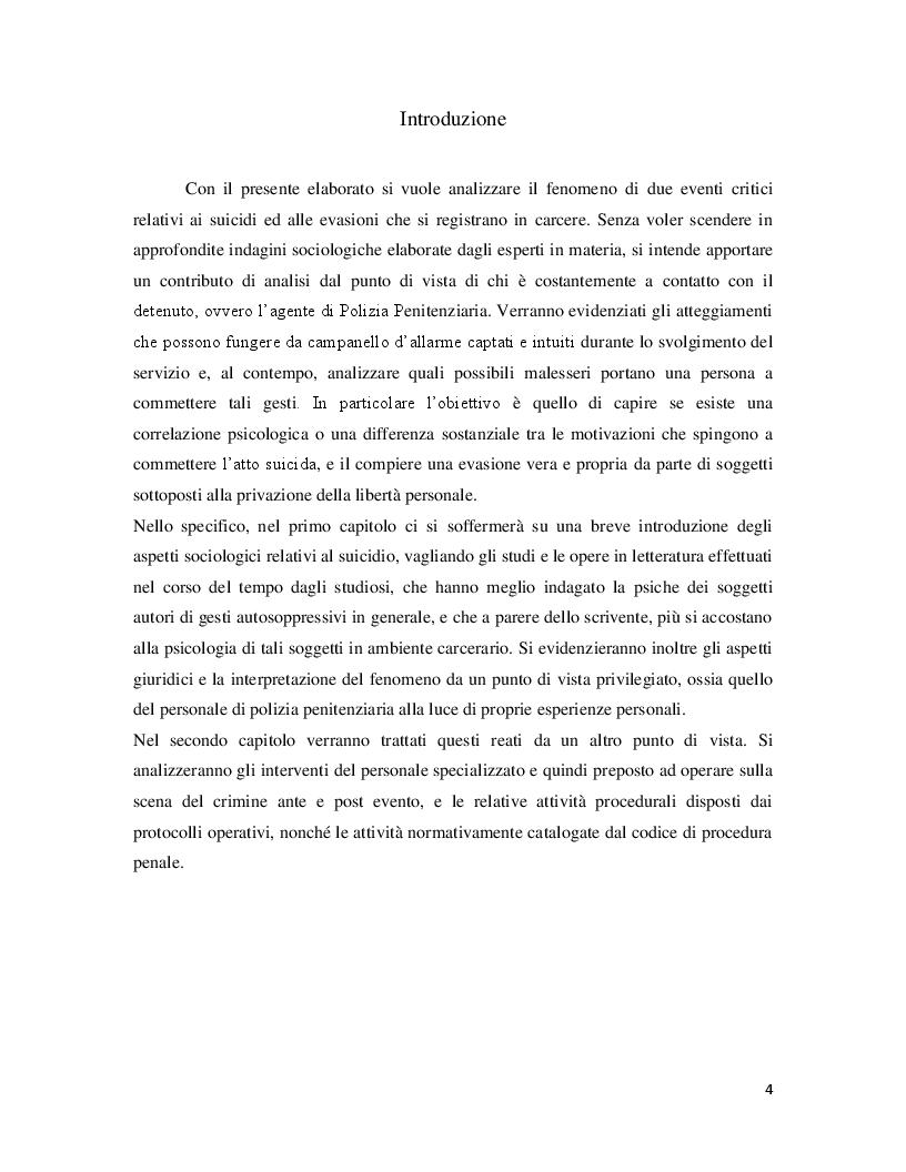 Anteprima della tesi: Correlazione tra eventi critici di evasione e suicidio. Analisi e relativi interventi di Polizia Giudiziaria, Pagina 2