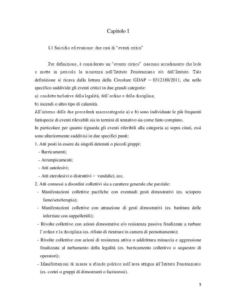 Anteprima della tesi: Correlazione tra eventi critici di evasione e suicidio. Analisi e relativi interventi di Polizia Giudiziaria, Pagina 3