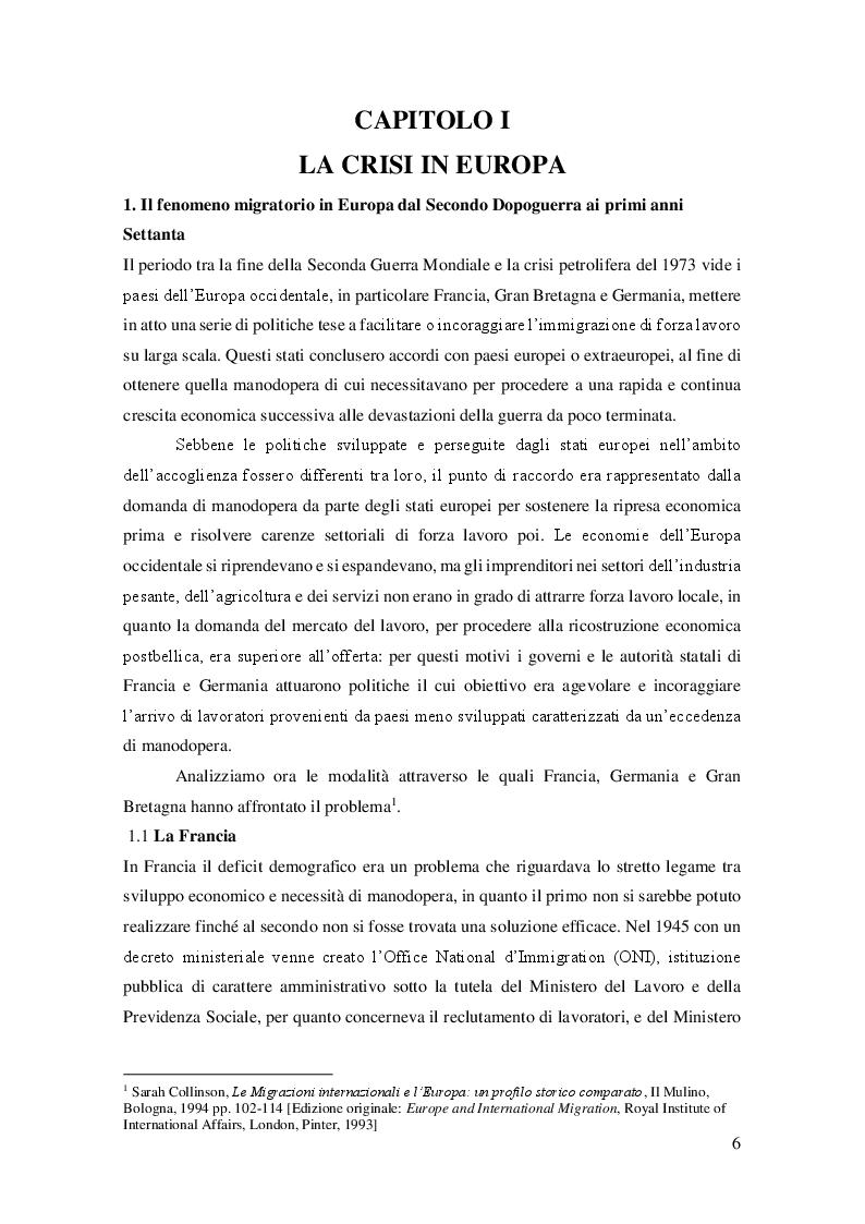 Anteprima della tesi: La crisi dei primi anni Settanta come punto di svolta del fenomeno migratorio in Europa, Pagina 4