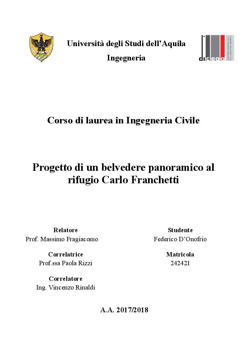 Anteprima della tesi: Progetto di un belvedere panoramico al rifugio Carlo Franchetti, Pagina 1