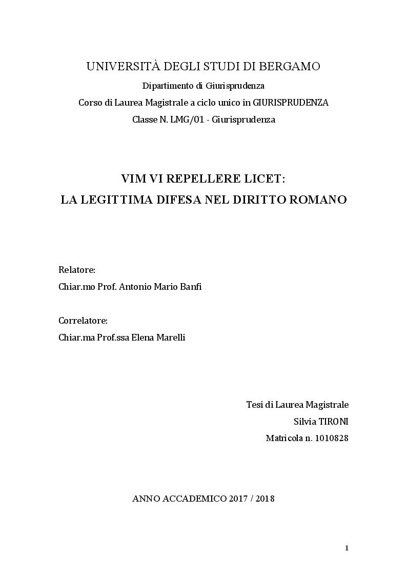 Anteprima della tesi: Vim Vi Repellere Licet: la legittima difesa nel diritto romano, Pagina 1