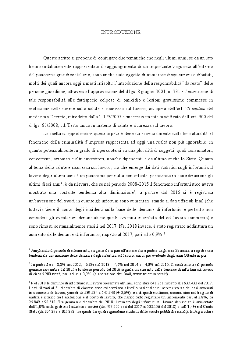 Anteprima della tesi: Responsabilità ex crimine degli enti e delitti colposi in violazione delle norme sulla salute e sicurezza sul lavoro. Profili critici e prospettive., Pagina 2