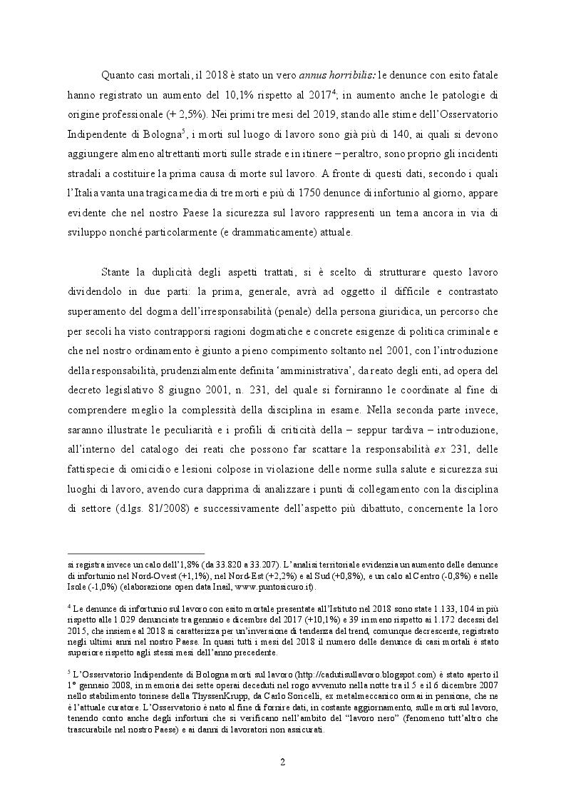Anteprima della tesi: Responsabilità ex crimine degli enti e delitti colposi in violazione delle norme sulla salute e sicurezza sul lavoro. Profili critici e prospettive., Pagina 3