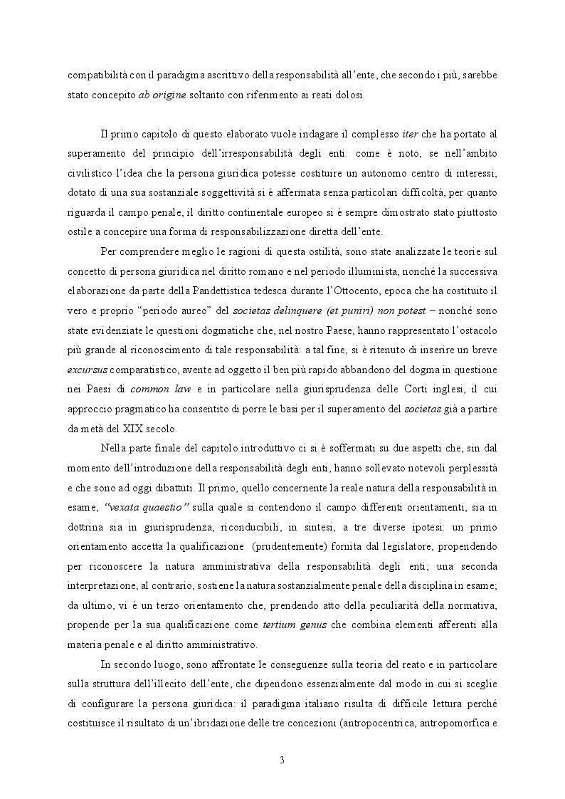 Anteprima della tesi: Responsabilità ex crimine degli enti e delitti colposi in violazione delle norme sulla salute e sicurezza sul lavoro. Profili critici e prospettive., Pagina 4