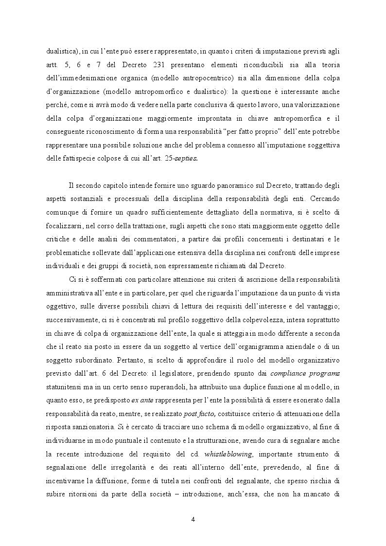 Anteprima della tesi: Responsabilità ex crimine degli enti e delitti colposi in violazione delle norme sulla salute e sicurezza sul lavoro. Profili critici e prospettive., Pagina 5