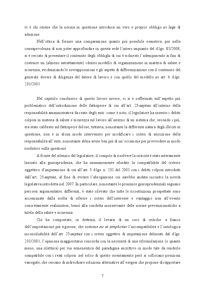 Anteprima della tesi: Responsabilità ex crimine degli enti e delitti colposi in violazione delle norme sulla salute e sicurezza sul lavoro. Profili critici e prospettive., Pagina 8