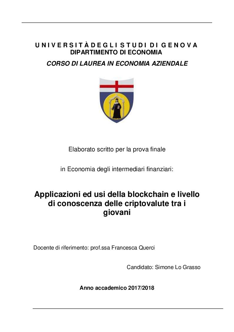 Anteprima della tesi: Applicazioni ed usi della blockchain e livello di conoscenza delle criptovalute tra i giovani, Pagina 1