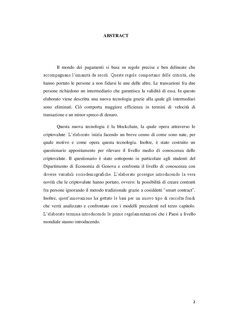 Anteprima della tesi: Applicazioni ed usi della blockchain e livello di conoscenza delle criptovalute tra i giovani, Pagina 2